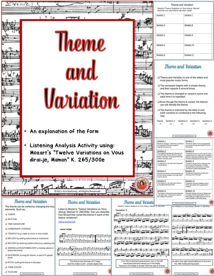 Music Form: Theme and Variations Form in Music | Music classroom ...