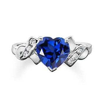 Angara Solitaire Blue Sapphire Heart Ring in White Gold EpueZaeYPd