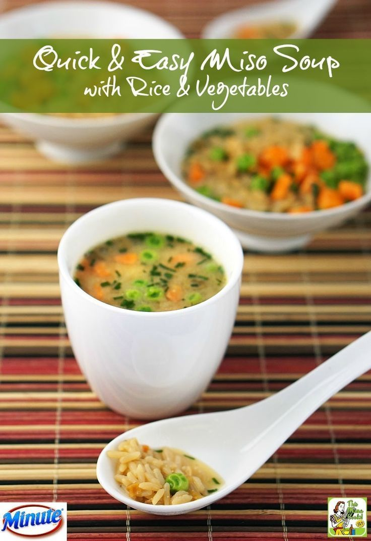 This Quick & Easy Miso Soup recipe made with rice and vegetables can be made in 15 minutes or less.  AD RiceMonthwithMinute /minutericeUS/