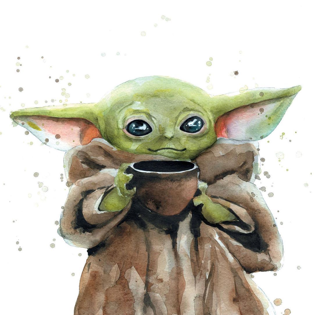 Custom Watercolor Art Baby Yoda Did Not Leave Me Indifferent You Can Find This Print In My Etsy Story Monstr Garnet Prin Art Star Wars Painting Watercolor Art