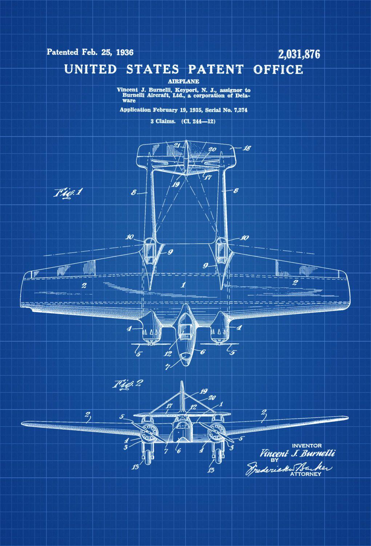 Burnelli a 1 bomber patent print vintage airplane airplane burnelli a 1 bomber patent print vintage airplane airplane blueprint airplane art malvernweather Images