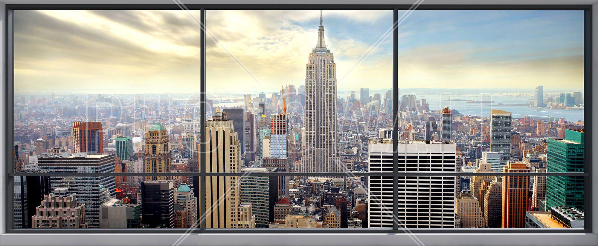 Penthouse Window View Wall Mural & Photo Wallpaper