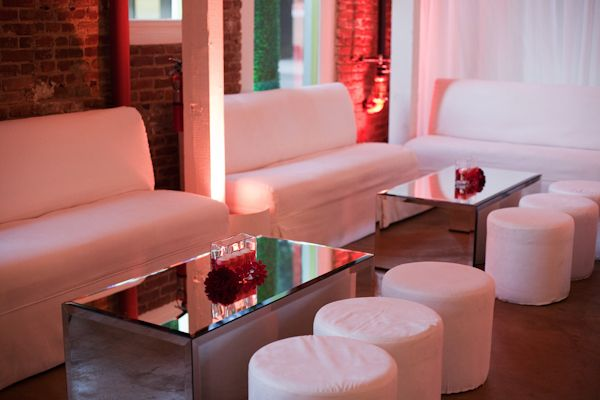 White Sofas | Modern Engagement Party | Photo by Duke Photography ...