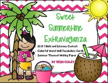 Sweet Summertime Extravaganza -Math & Literacy Centers, Writing, Word Wall Cards