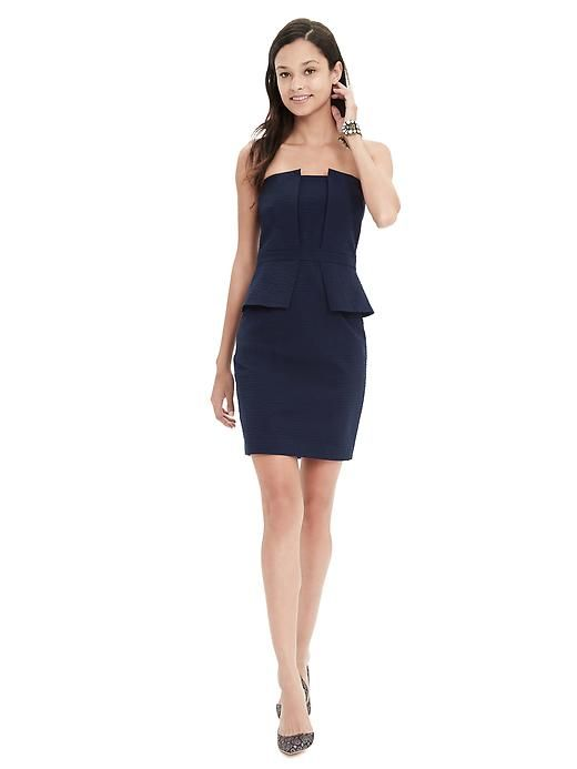 Seersucker Strapless Dress in Preppy navy | Banana Republic Spring ...