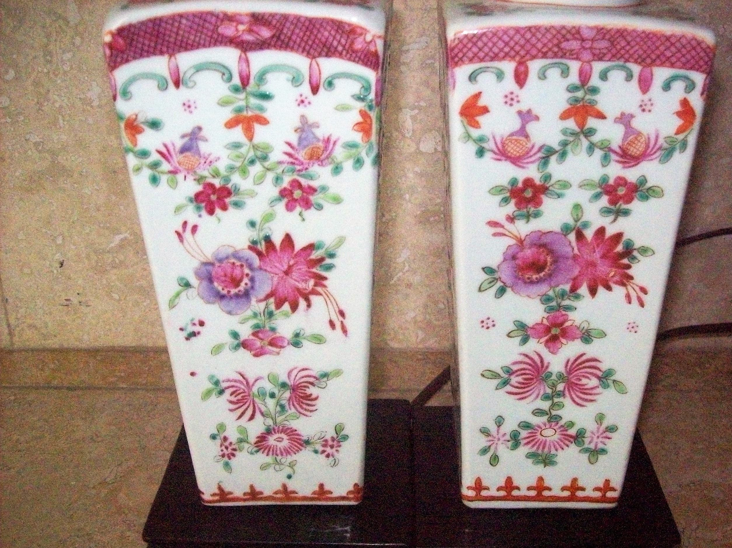 Pair antique chinese export porcelain famille rose square vase pair antique chinese export porcelain famille rose square vase lamps wwood base reviewsmspy