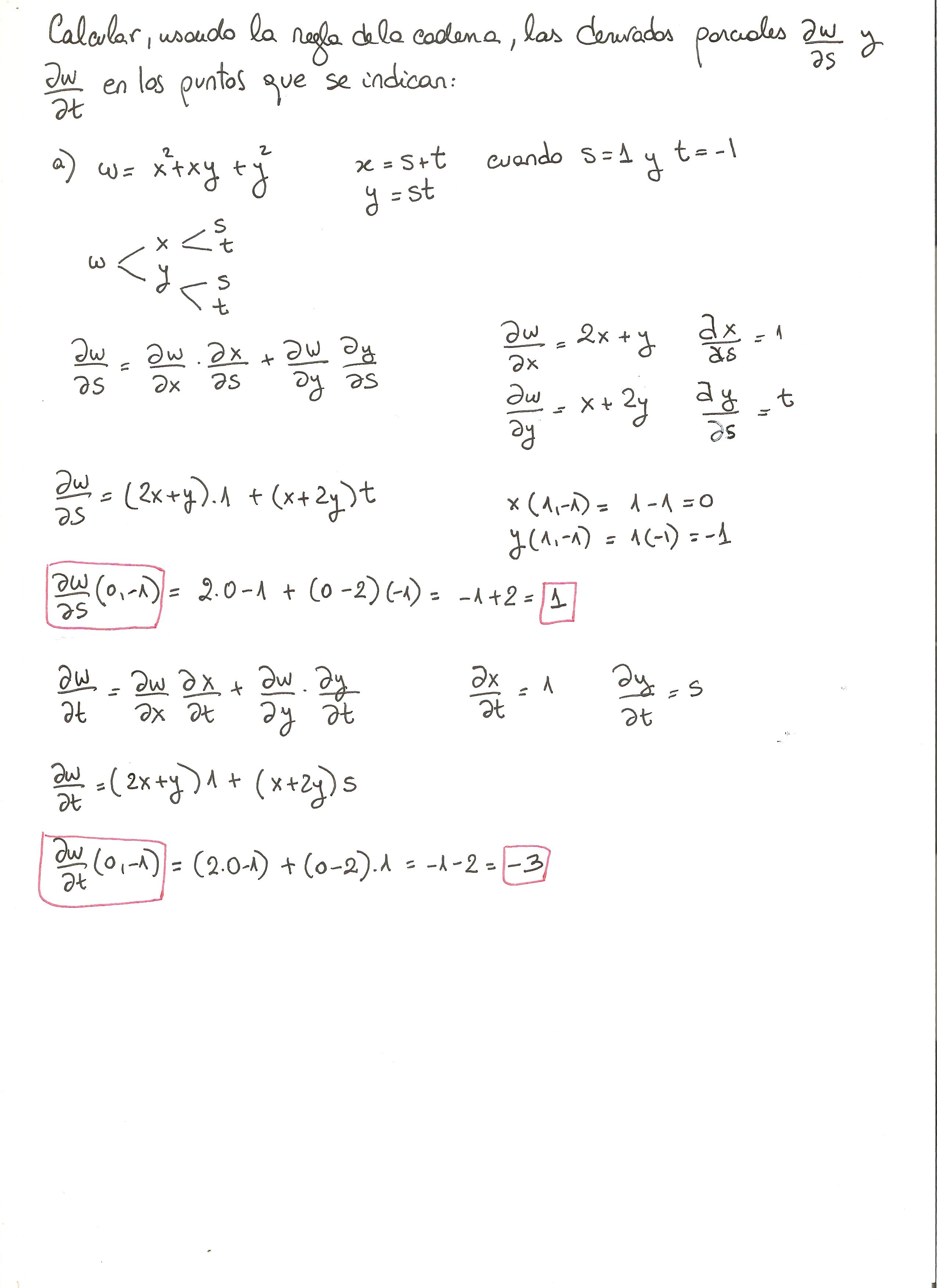 Ejercicio 4 resuelto. Tema: regla de la cadena funciones de varias ...