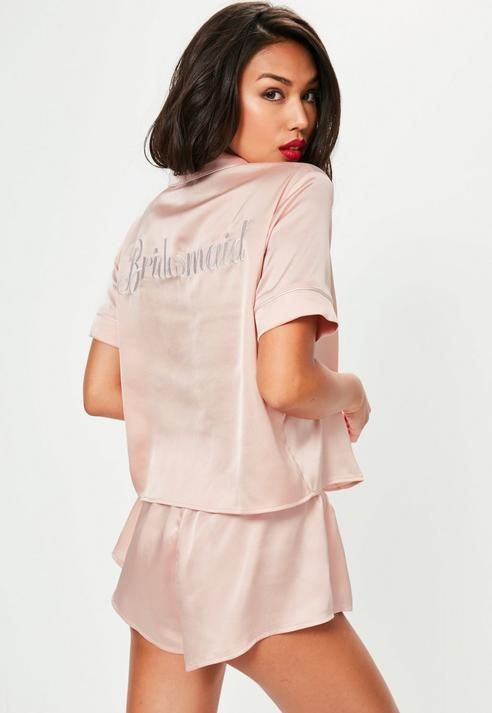 598e1417f1 Missguided Pink Satin Bridesmaid Piped Short Pyjama Set
