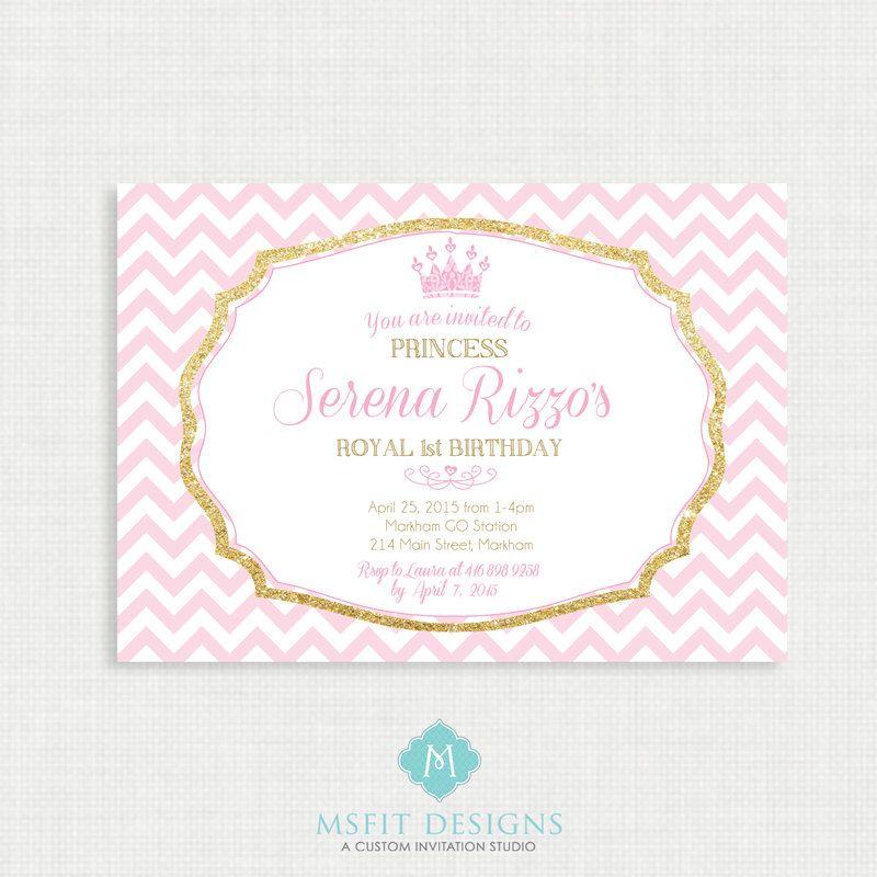Princess Birthday Invitation- Tiara Birthday party invitation - invites template