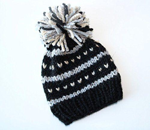 79def966fd6 Knitted Fair Isle Knit Beanie Hat with Pom Pom. Handmade ... https ...
