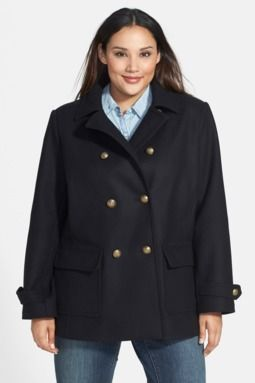 Pleat Back Peacoat (Plus Size)