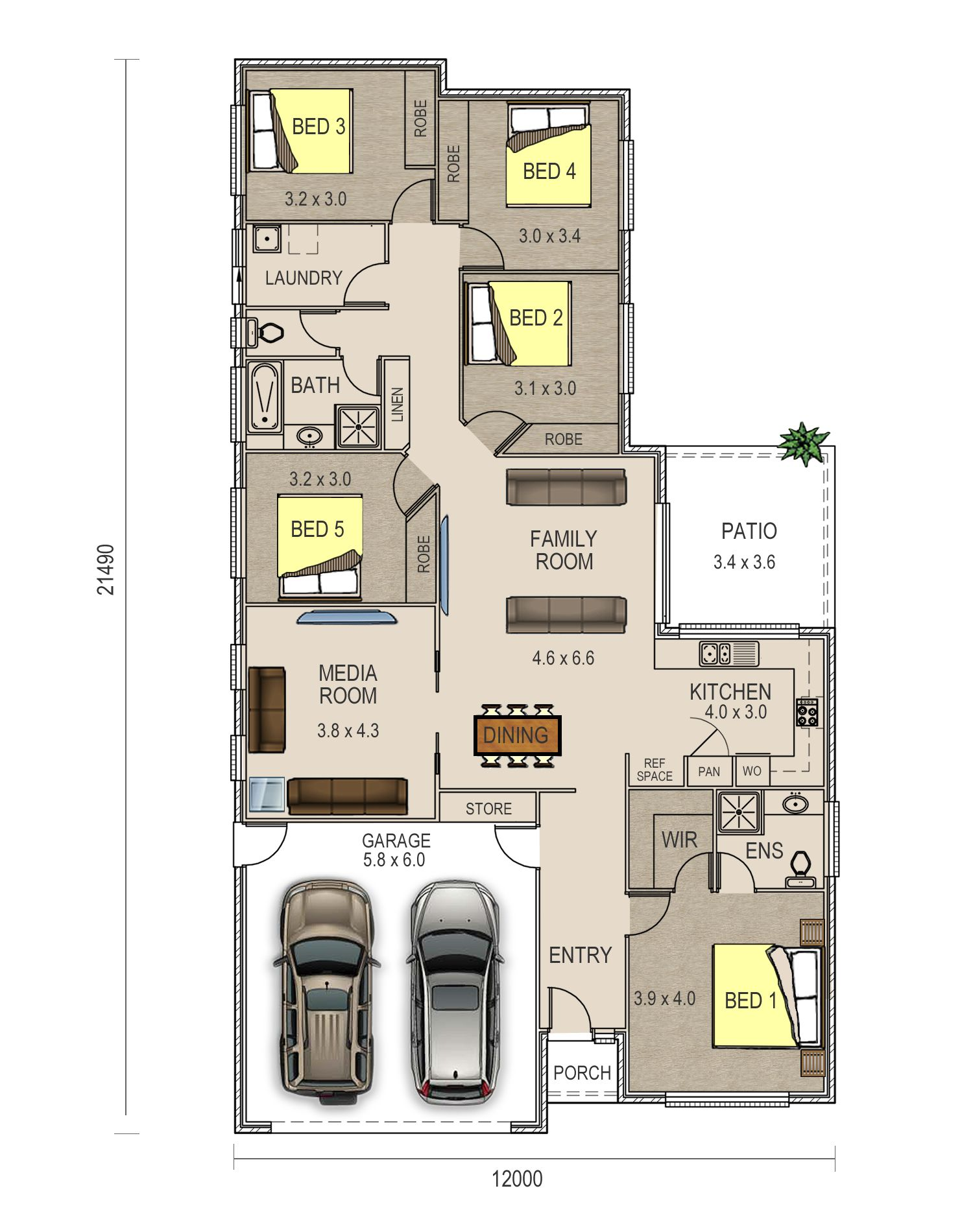 piper floor plan has a double garage and a very spacious five bed
