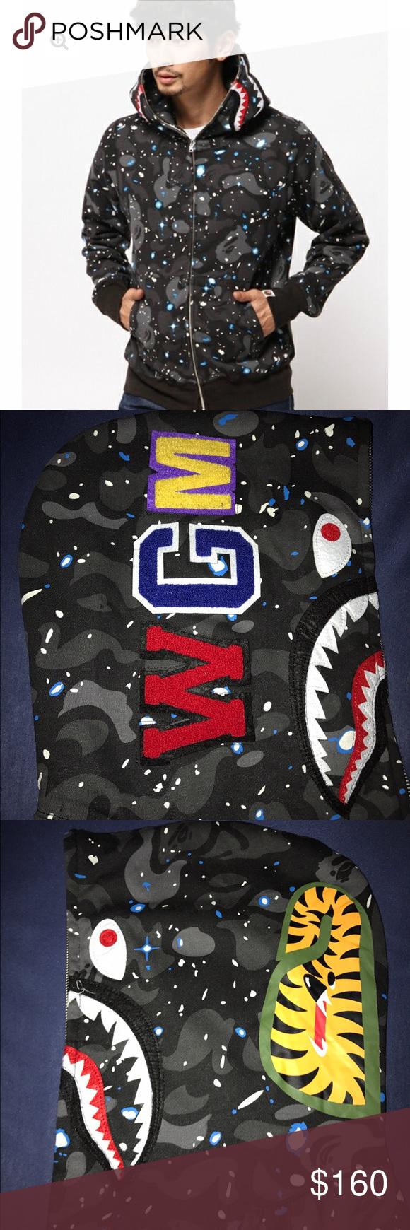 e69b71552 Bape Shark Camo Galaxy New with tags Bape Shark Hoodie. Size Large fits  like a medium. bape Sweaters Zip Up
