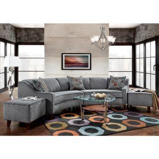 Sofa Trendz Bindel Grey Curved Sectional Sofa With Ottoman Set (Bindel Curved  Sofa With Ottoman Set)