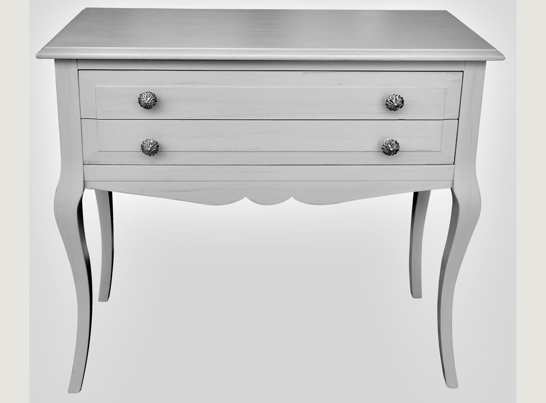 Consola pintada a mano en gris neutro y patina plata el color que se integra en cualquier lugar - Muebles pintados en plata ...
