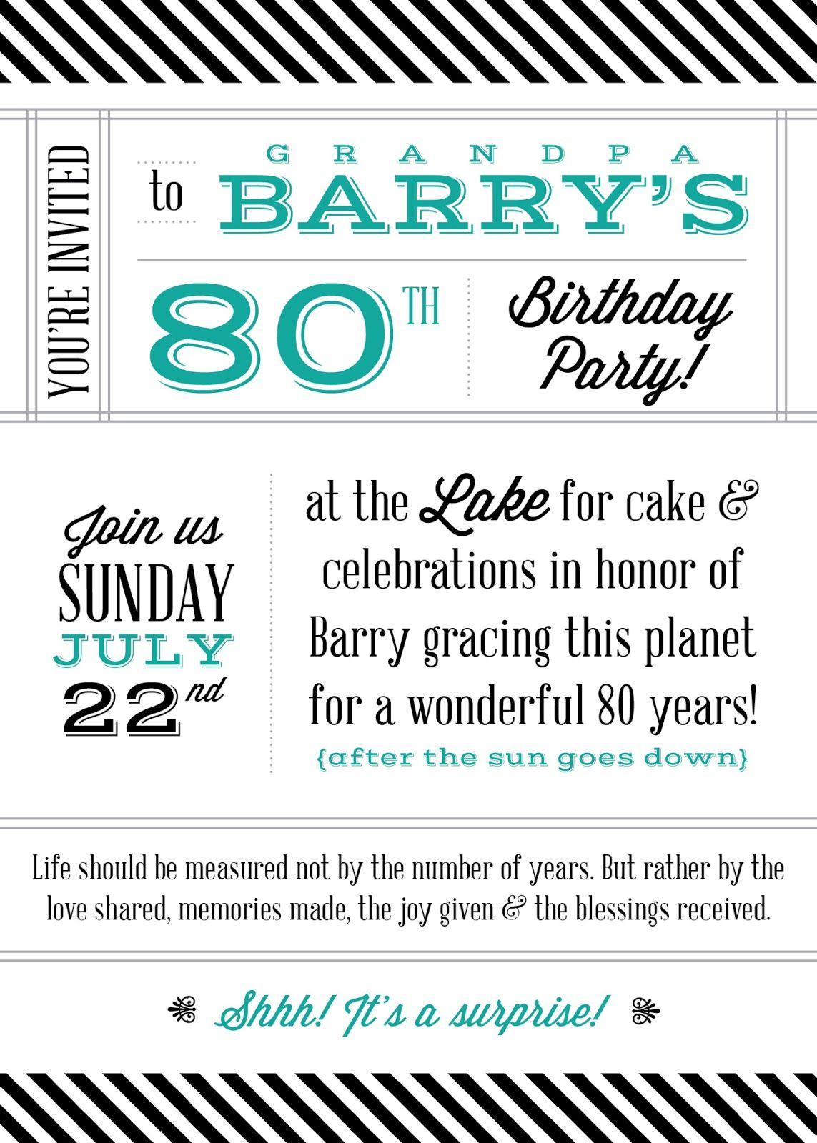 The Turquoise Penguin | 80th Birthday Party Invite | Invite ...