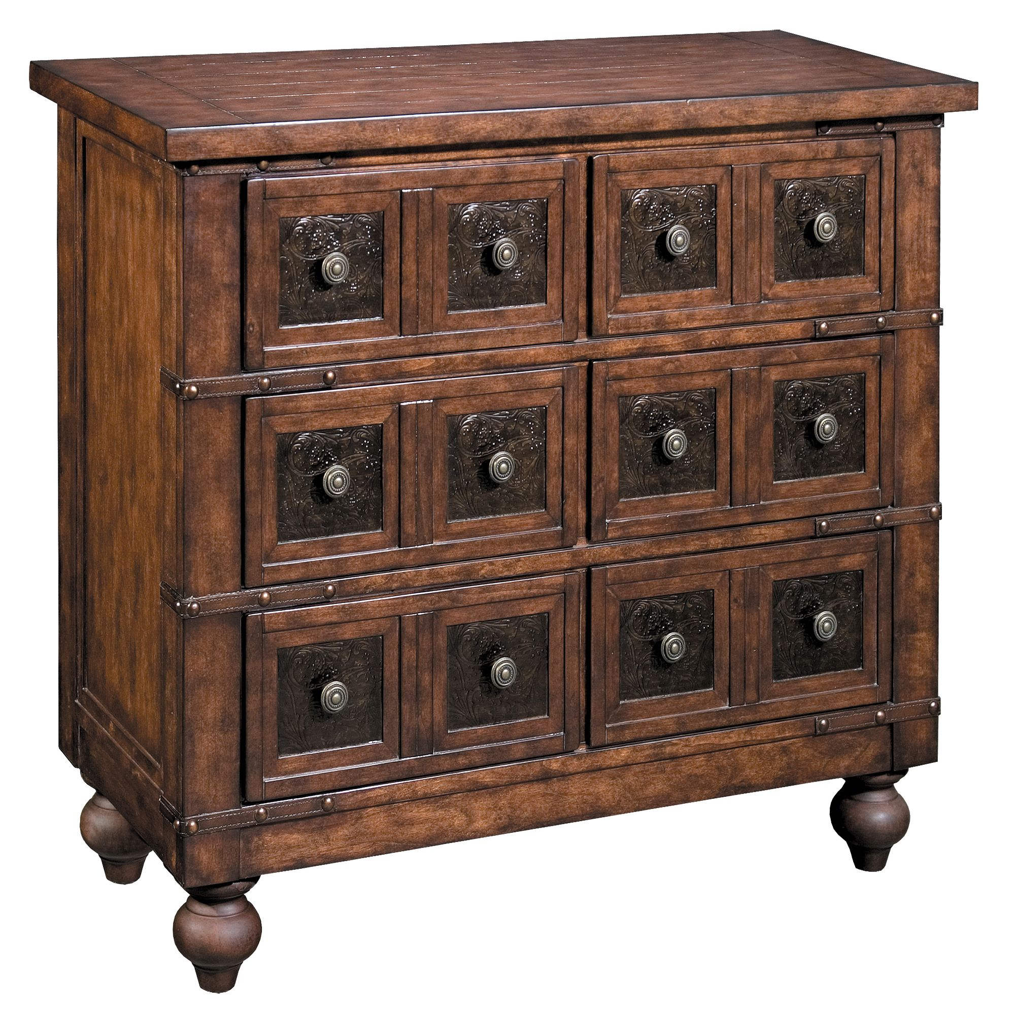Gorgeous Apothecary Chest   Made From Solid Wood, Leather Strapping, Iron  Inlay On Each Drawer Front, Nailhead Accents And Classic Bun Feet.