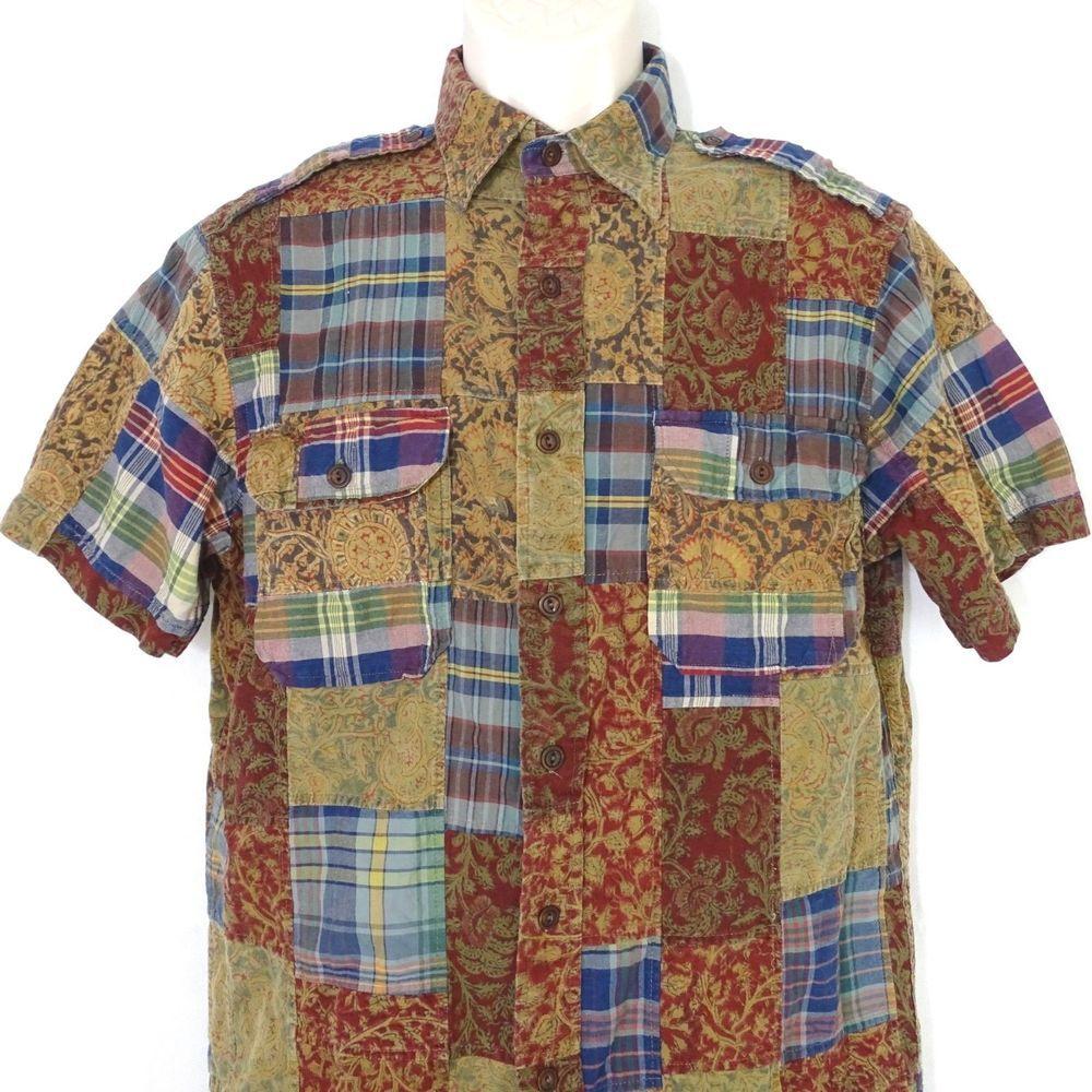 046b2078 Polo by Ralph Lauren Patchwork Button Front Shirt Women Size M Short Sleeve  #PoloRalphLauren #ButtonFront