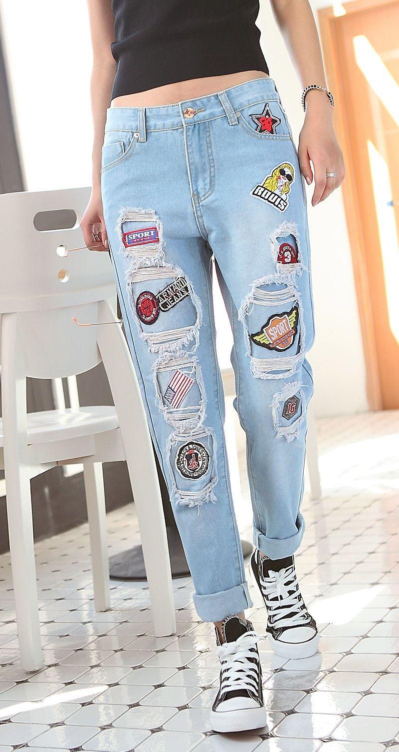 Primavera-verano-pantalones-vaqueros-rasgados-mujer-agujeros-pantalones-de-mezclilla-bordados-jeans-ocio-pantalones-pantalones-para.jpg (800×1505)