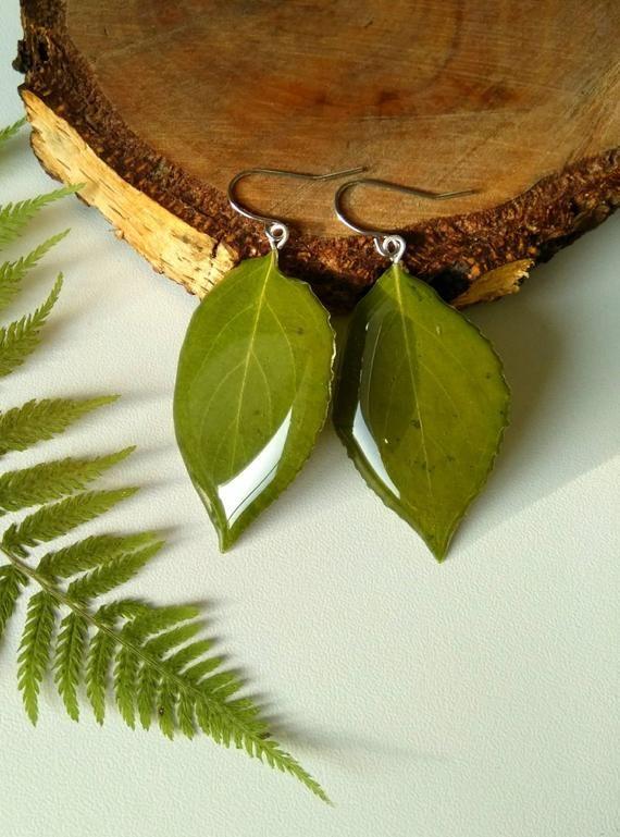 Photo of Real leaves earrings Resin earrings green jewelry resin Dangle green earrings Drop green earrings Le