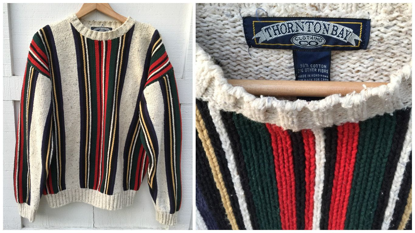 Vintage Thornton Bay Heavy Cotton Sweater // Men's Large | Cotton ...