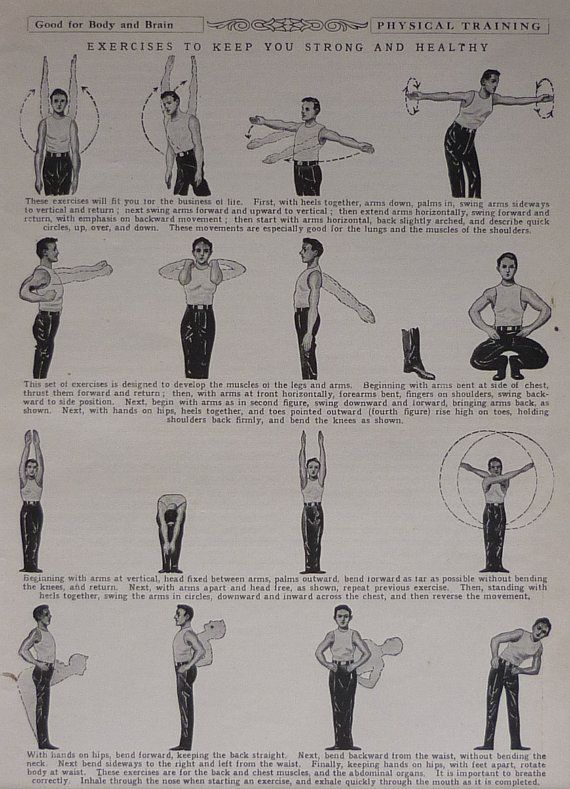Vintage print of exercise techniques from the 1930s - Health and fitness - Staying fit - Diagram - S...