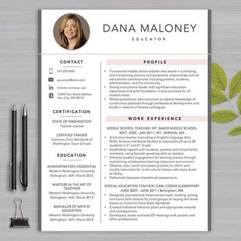 Resume Template Teacher With Photo For Ms Word   Educator Resume
