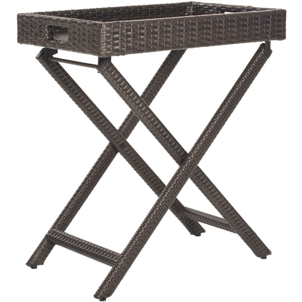 Safavieh Outdoor Living Brown PE Wicker Folding Tray Side Table | Overstock.com Shopping - Big Discounts on Safavieh Coffee & Side Tables