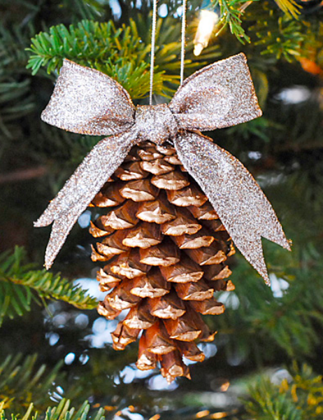 DIY: Gold PInecone Ornament - Gold Gilded Pine Cone Ornament Arts & Crafts Pinterest