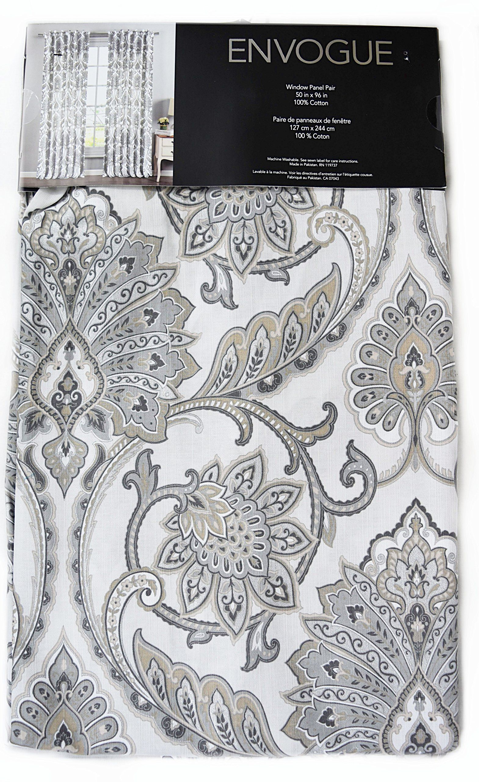 Envogue Taupe Grey Brocade Damask Medallions Window Panels 50 By