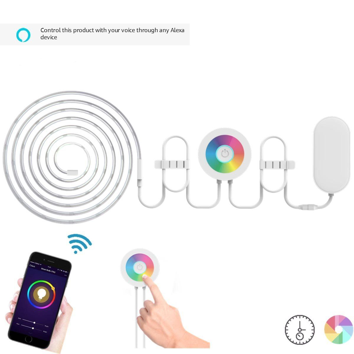 Lombex smart wifi led light strip color changing rgb light strip lombex smart wifi led light strip color changing rgb light strip rope multi color dimmable aloadofball Images