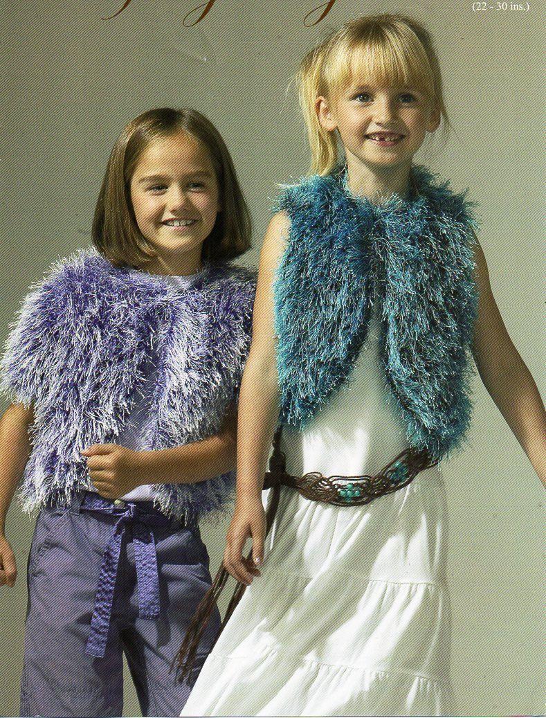 Girls furry bolero gilet knitting pattern pdf childrens fur jacket ...