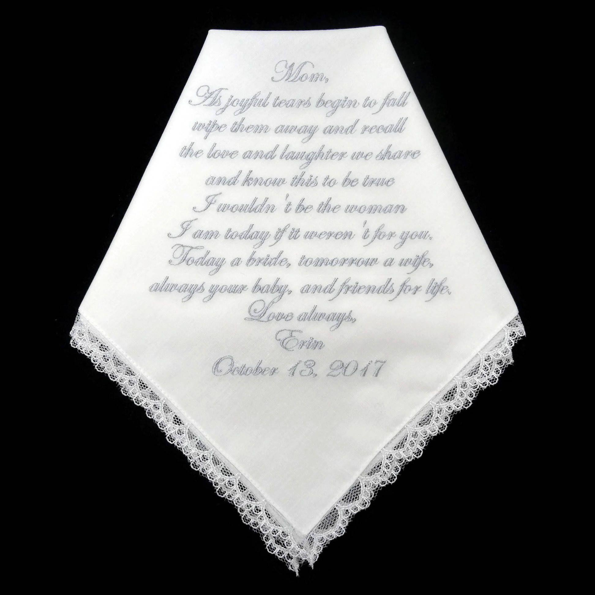Mother of the bride gift, mother of the bride handkerchief, wedding ...