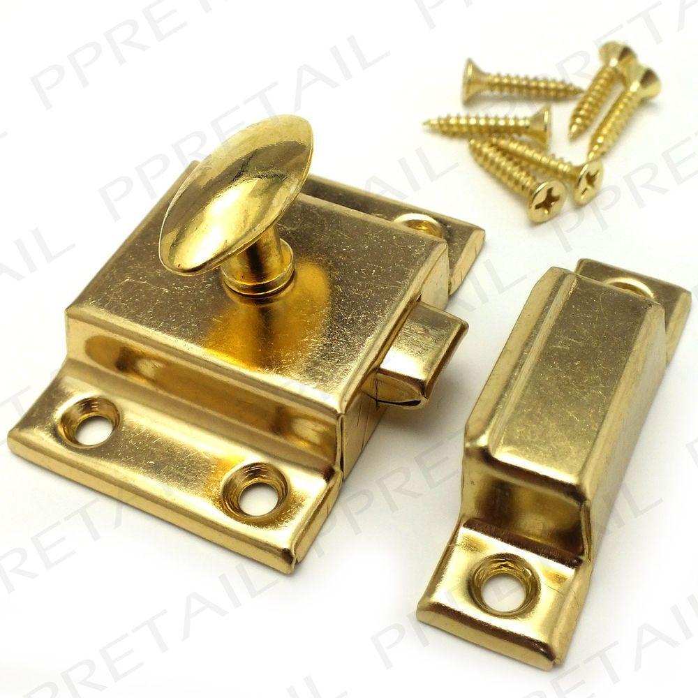 Brass SPRUNG Cupboard Turn Latch WITH SCREWS Desk Cabinet Door Catch ...
