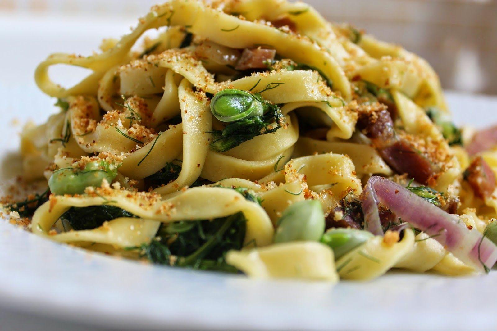 soul food: Tagliatelle con finocchietto selvatico e fave fres...