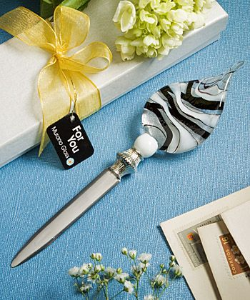 Murano Glass Collection Letter Opener Favors Black White At