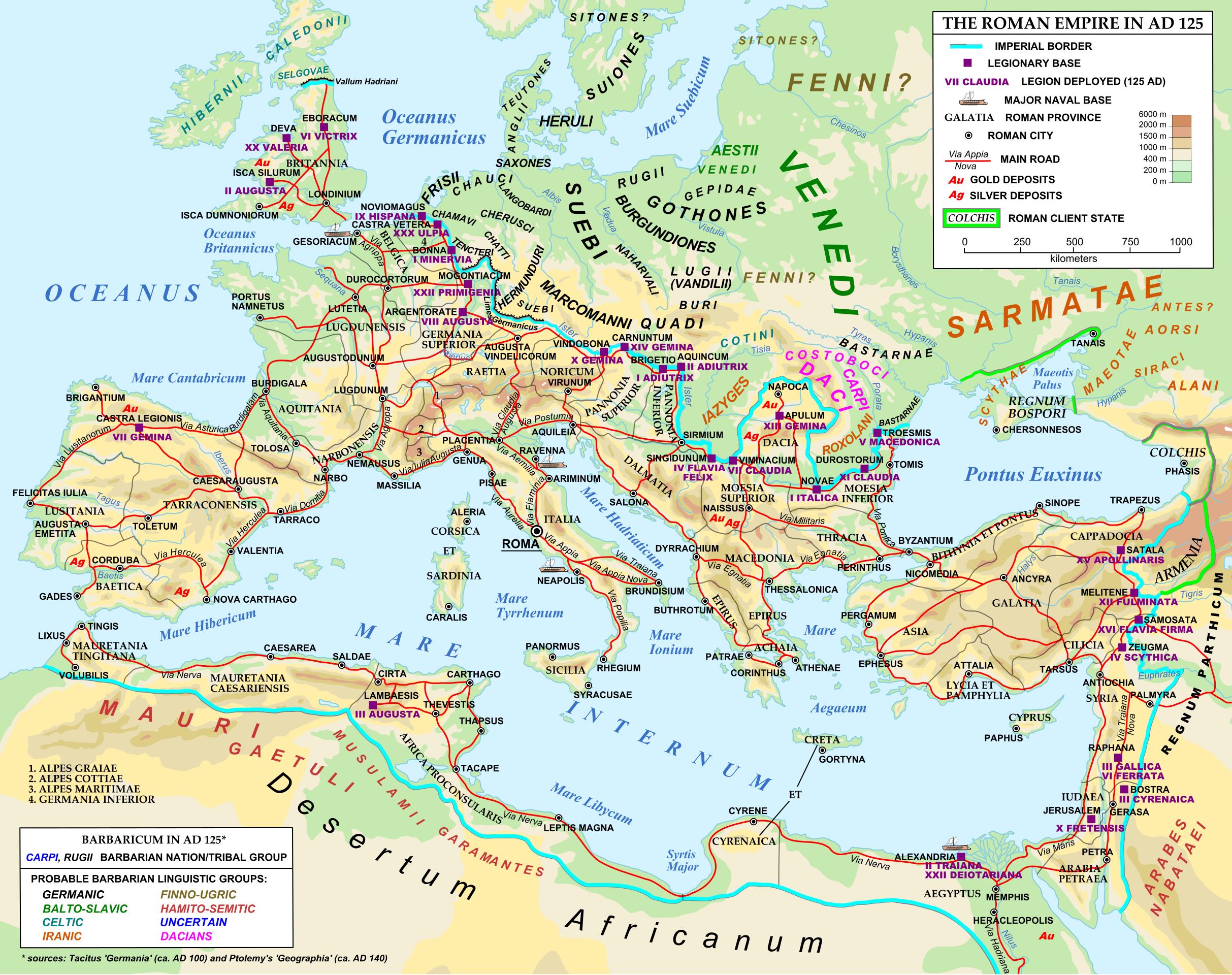 "roads in 125AD - ""Atlas of Ancient Rome - Wikimedia ..."