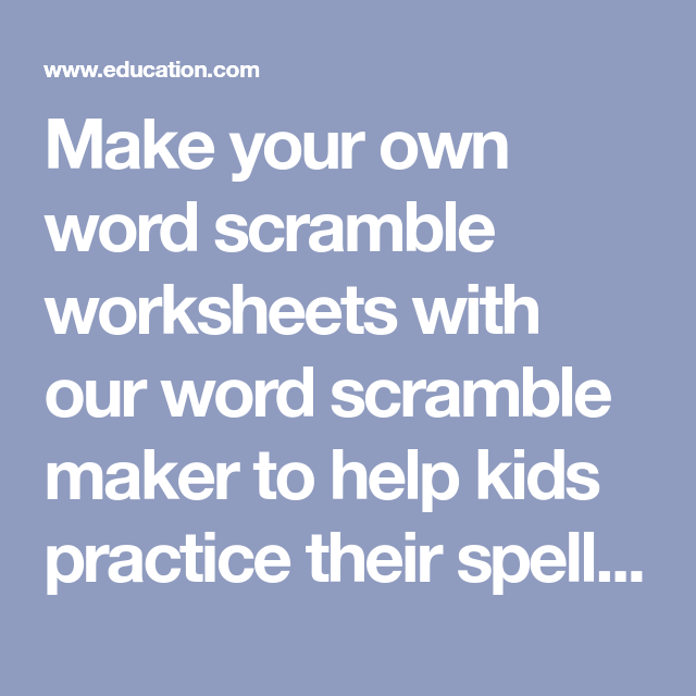 26+ Create your own word scramble ideas