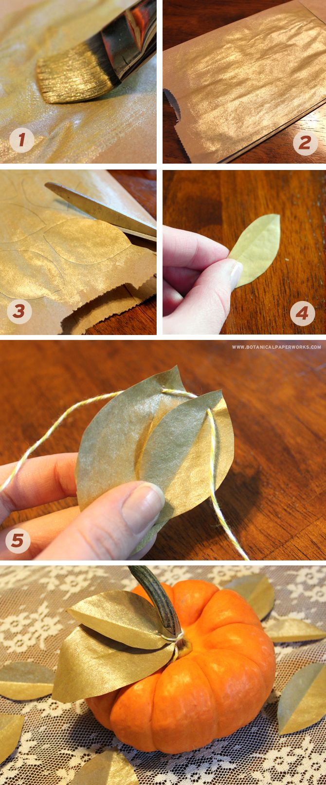 Make beautiful shimmering leaves for autumn decor by using paper bags and gold craft paint.