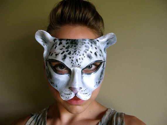 3adf4e3702a9 Snow Leopard Leather Mask (Ready-to-ship) - Cat - Masquerade Mask - Halloween  Costume - Wall Hanging - Wedding Prop - Art on Etsy, $80.00