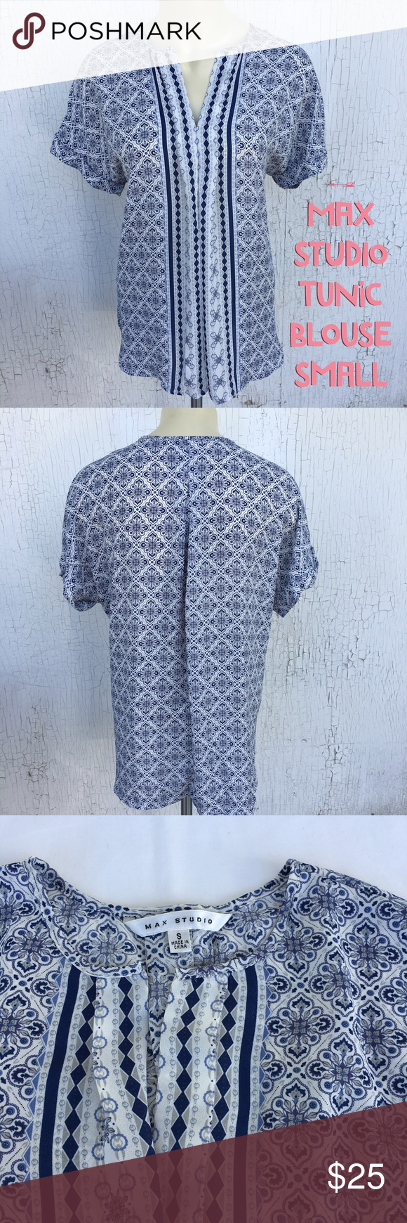 "MAXSTUDIO Tunic Short Sleeves - SMALL Max Studio Printed Tunic Oversized Sheer Blouse  Size SMALL  100% Polyester   APPROX MEASUREMENTS LAYING FLAT:  Shoulder: 25"" Chest: 21"" Length: 28"" Max Studio Tops Tunics"
