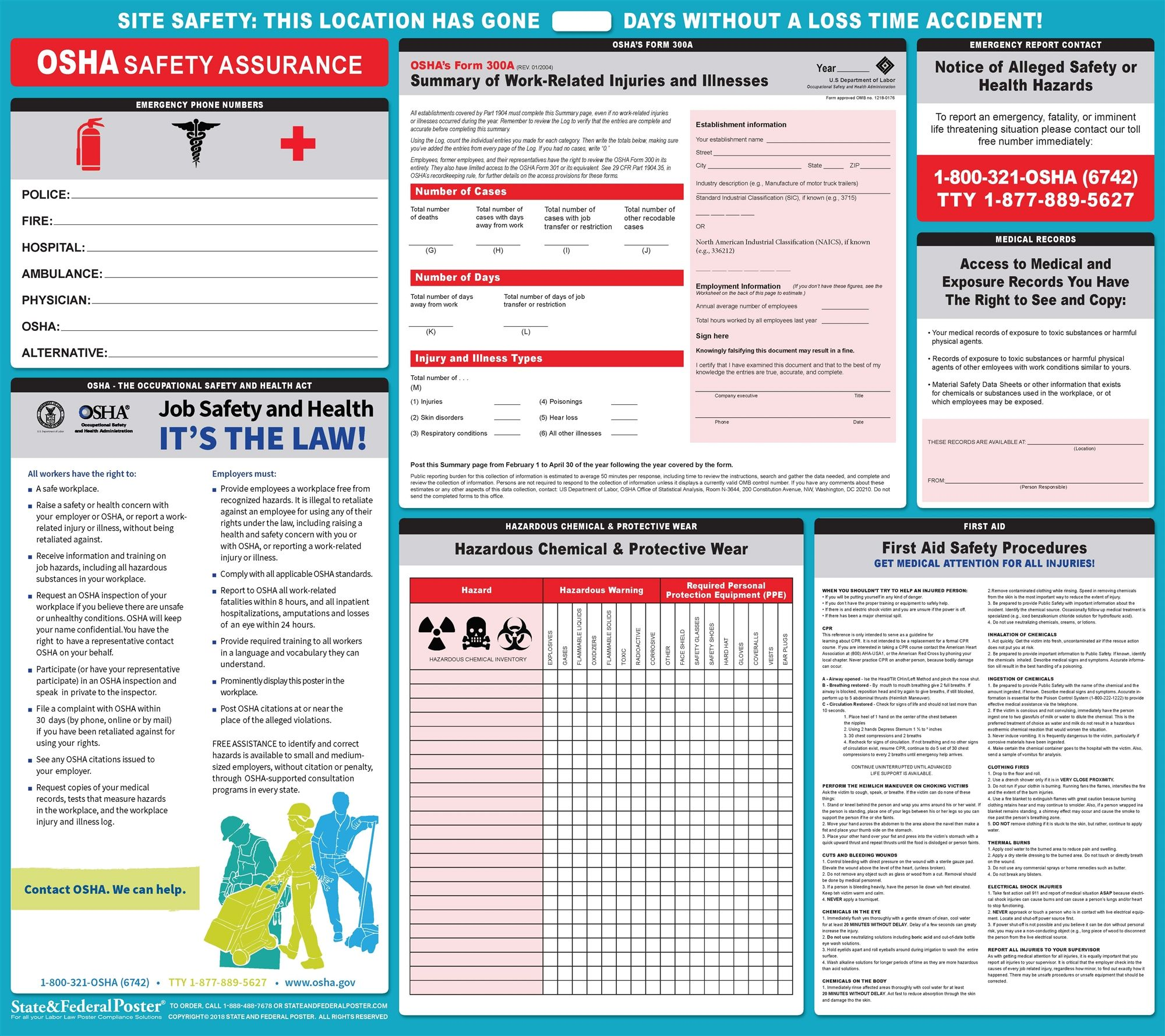"OSHA Safety and Health ""It's the Law!"" OSHA Form 300A"