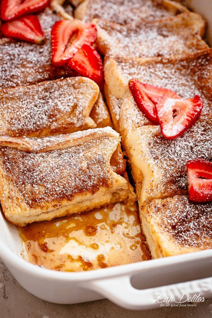Easy Baked French Toast Casserole with a cinnamon and brown sugar syrup... DELIC... -  Easy Baked French Toast Casserole with a cinnamon and brown sugar syrup… DELICIOUS! A delicious s - #Baked #BreakfastRecipes #brown #Casserole #Cinnamon #DELIC #Easy #French #sugar #syrup #Toast