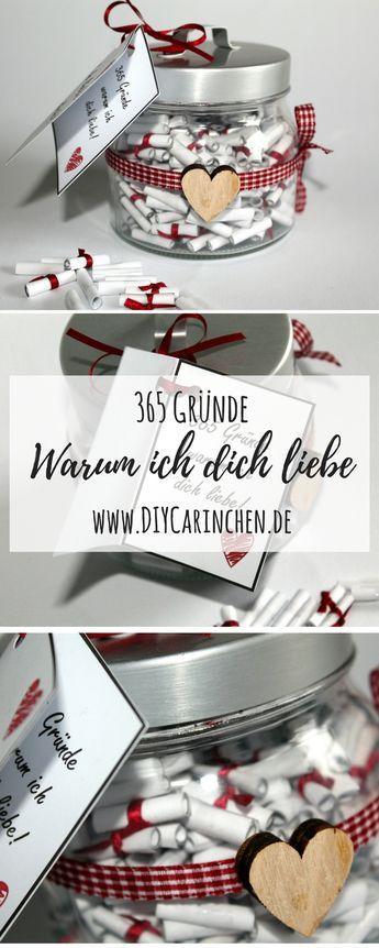 Die perfekte Geschenkidee: DIY 365 Gründe warum ich dich liebe! selber machen #weihnachtsgeschenkfreund