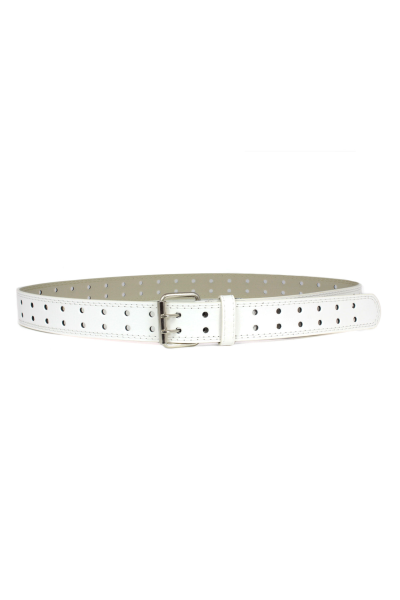 Classic White Double Row Leather Belt | Danice Stores