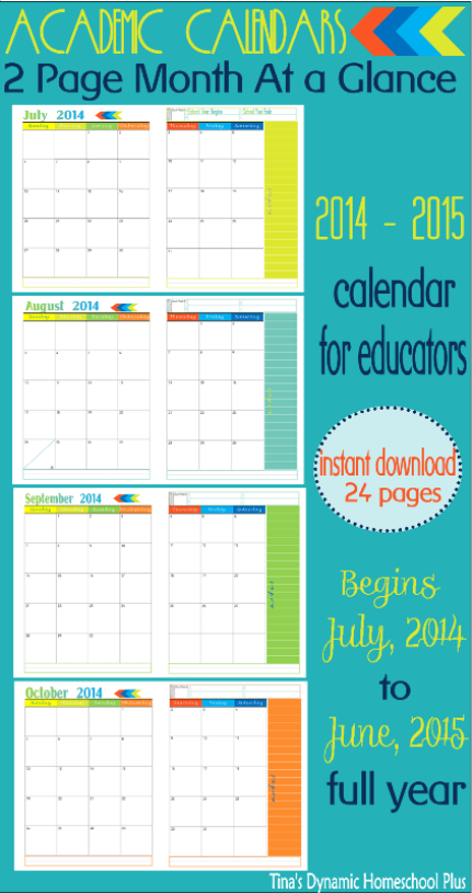 2 Page Month At A Glance Academic Calendar Curriculum Planner