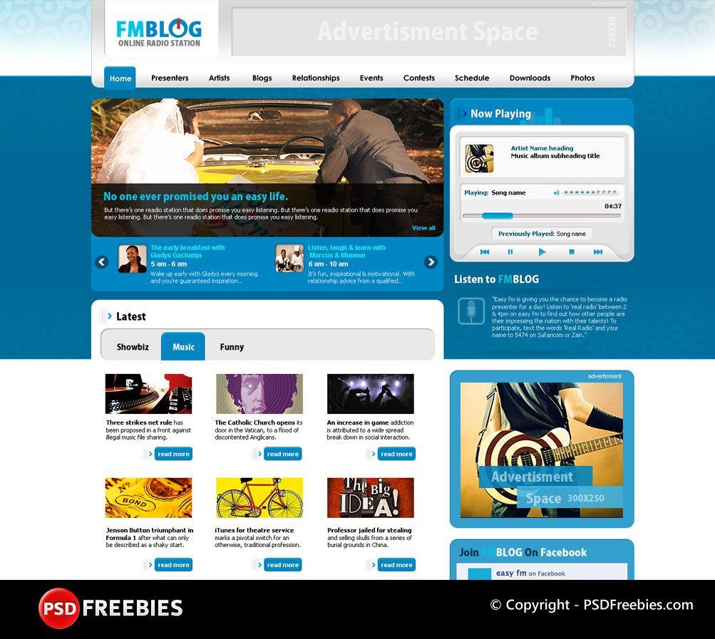 Fm Blog Psd Template Psdfreebies Com Photoshop Templates Free Psd Templates Website Template Design