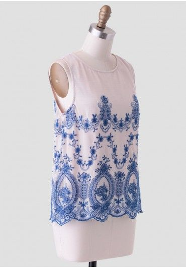 Shop Ruche: Empress Embroidered Blouse In Blue