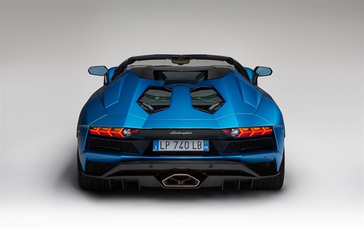 Download Wallpapers Lamborghini Aventador S, Roadster, 2018, Rear View,  Blue Aventador,