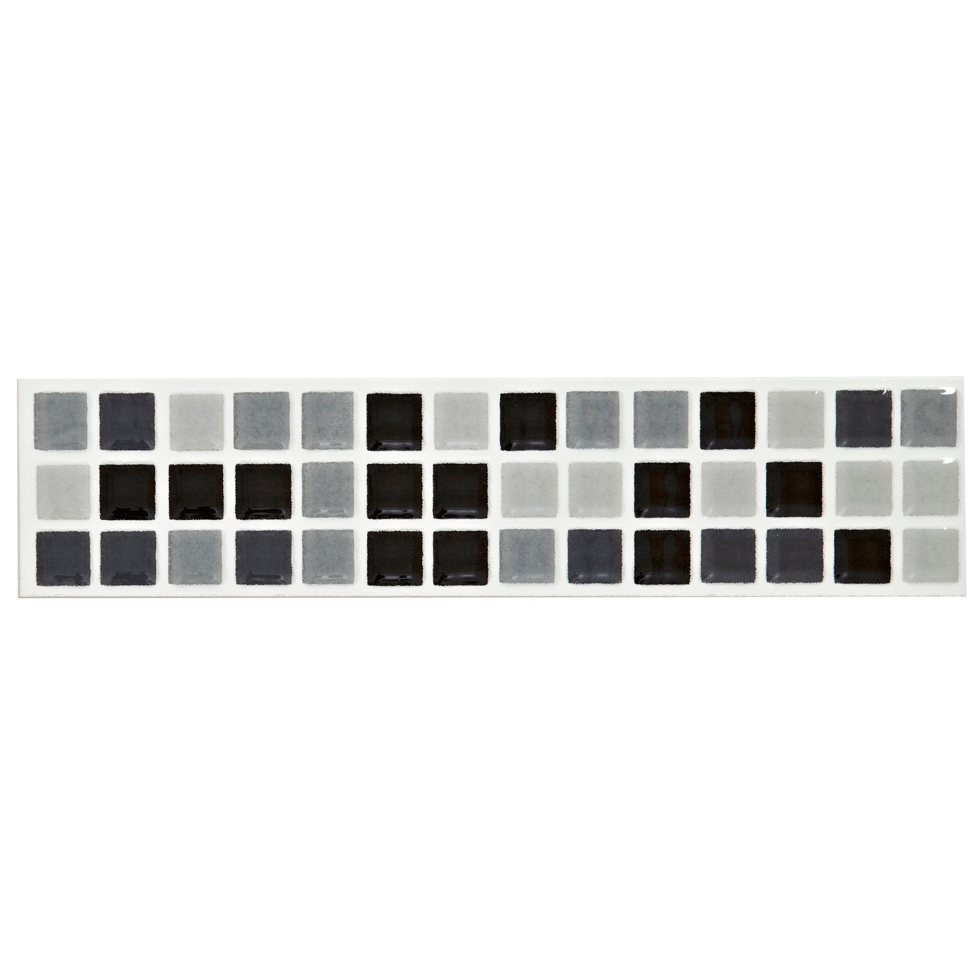 Mini Mosaic Black & White Mosaic Ceramic Border Tile, (L